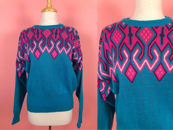 Vintage 1980's Meister Sweater Aqua Neon Pink L