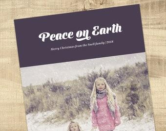 Christmas Photo Card - custom design holiday card digital file PEACE ON EARTH