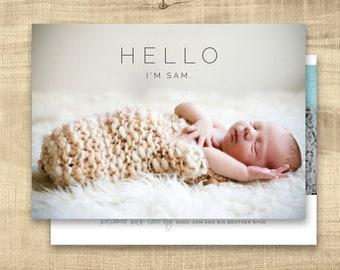 Birth announcement photo card, photo birth announcement, birth announcement, girl, boy, birth announcement, modern, PRINTABLE | Sam
