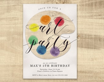 Art Party Invitation Paint Party Printable Invitation, Kids Art Birthday Party, Rainbow invitation, children's birthday party watercolor art
