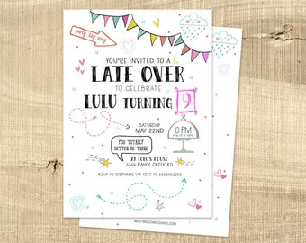 Late over birthday party invitation, slumber party invitation, teen birthday party invitation, doodles girl birthday party, PRINTABLE card