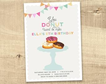 Donut birthday invitation, baby shower, rainbow little girl gender reveal, 1st first birthday party sprinkle rainbow party invitation