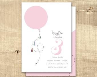 Balloon Birthday Invitation Girl, Children's birthday invitation, 1st first birthday invitation colorful modern printable digital