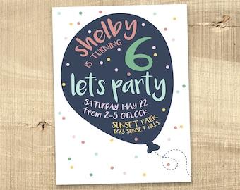 Balloon Birthday Invitation Girl Boy, Children's birthday invitation, 1st first birthday invitation colorful modern printable digital