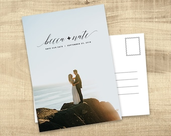 Photo Save the Date postcard, Save the Date with Pictures, Printable Save the Date Card, Engagement Photo Save the Dates, Save the Date