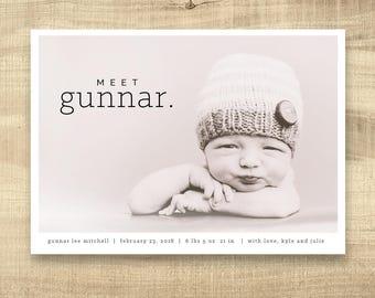 Photo Birth Announcement, Newborn Announcement, Baby Announcement, Birth Card, Photo Baby Card, Girl Birth Announcement, Simple Birth Card