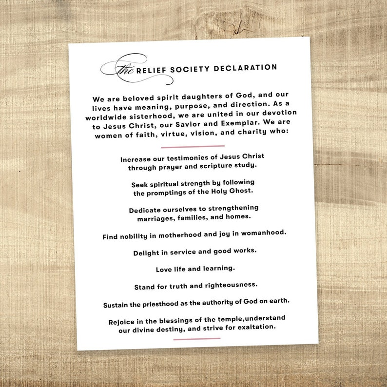 photograph regarding Relief Society Declaration Printable identified as LDS Reduction Culture Declaration printable poster - Prompt Obtain