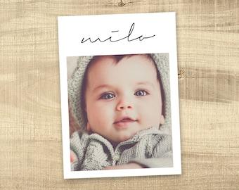 Birth announcement photo card, photo birth announcement, newborn baby announcement, girl, boy, birth announcement, modern, PRINTABLE milo