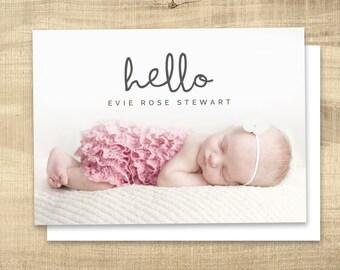 Birth announcement photo card, photo birth announcement, birth announcement, girl, boy, birth announcement, modern, PRINTABLE | Evie