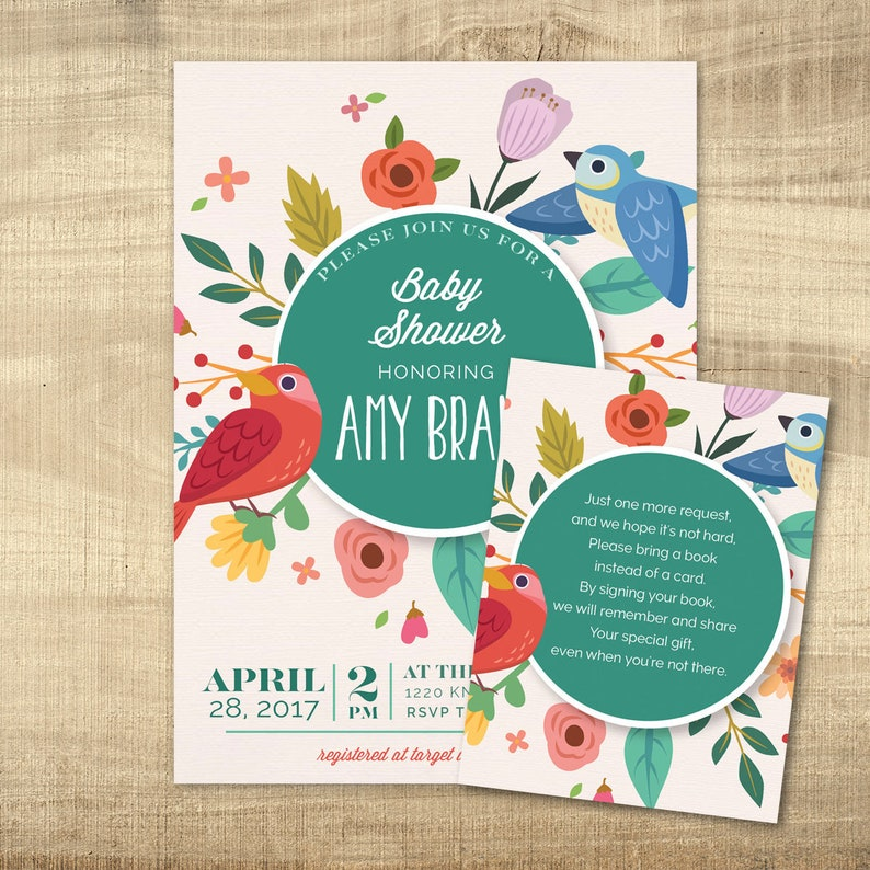 BABY SHOWER INVITATION Floral birds spring Baby Girl Printable party invite colorful couples shower digital download