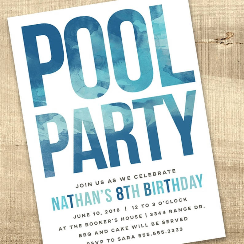 Pool Party Invitation Pool Birthday Invite Water Party Boy