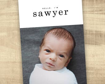 baby announcement photo card  simple hello baby birth announcement baby announcement digital baby girl birth announcement modern baby