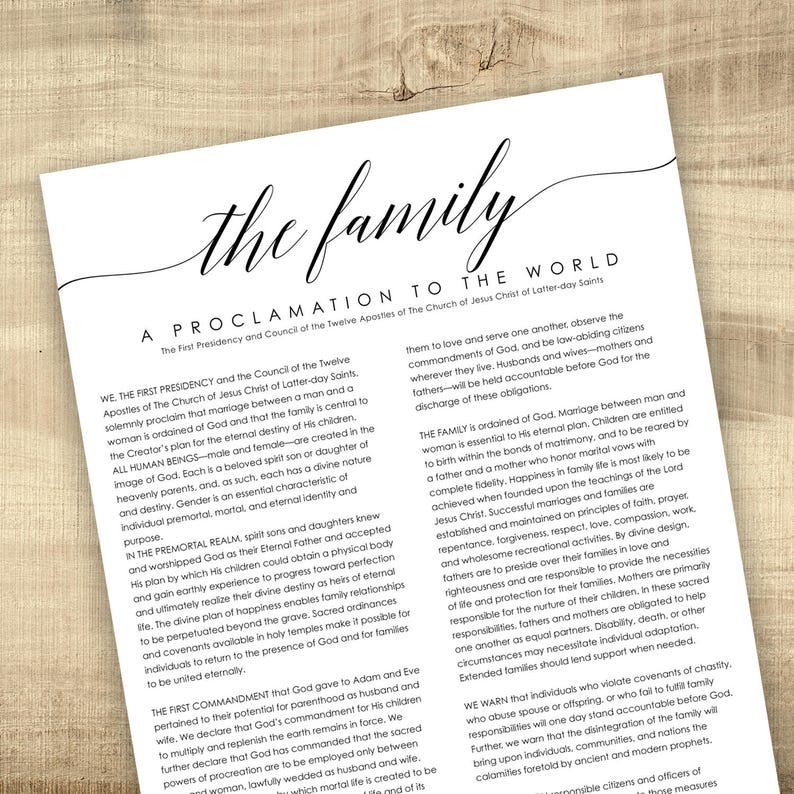 image relating to Family Proclamation Printable identify LDS Relatives Proclamation towards the Global - Electronic Printable Report, Loved ones Proclamation, Proclamation upon the Family members, 8.5x11, 11x14, 16x20