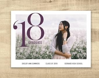 High School Graduation Announcement, Graduation Invitation, Photo Graduation Announcement, Printable Senior Graduation commencement
