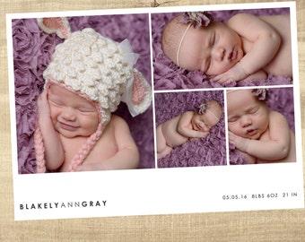 Baby Birth Announcement photo card, Newborn Announcement, Simple, multi photo, Photo Baby Card, Girl, Boy,  Birth Announcement, Hi, Hello