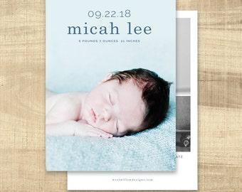 Birth announcement photo card, photo birth announcement, birth announcement, girl, boy, birth announcement, modern, PRINTABLE | Micah