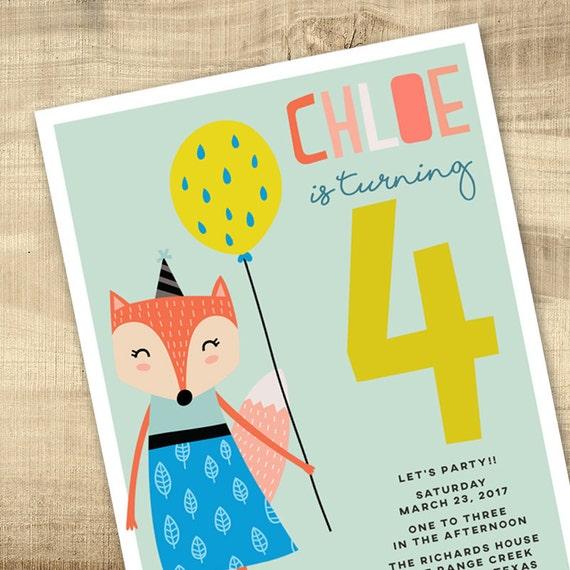 Foxy Birthday Party Invitation Modern Child