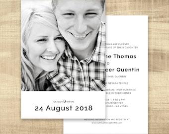 LDS Wedding Invitation, Photo wedding invitation, modern lds wedding, photo wedding invitations, temple wedding invitations: PRINTABLE