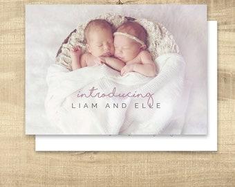 Birth announcement photo card twins, photo birth announcement, birth announcement, girl, boy, birth announcement, modern, PRINTABLE