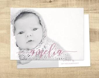 Birth announcement photo card, photo birth announcement, birth announcement, girl, boy, birth announcement, modern, PRINTABLE Amelia