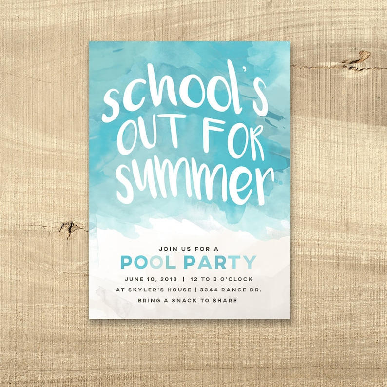 Schools Out Pool Party Invitation Birthday Invite