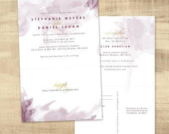 custom wedding invitation with tear off perforated rsvp, modern wedding invitation, watercolor wedding invitation tear off rsvp postcard