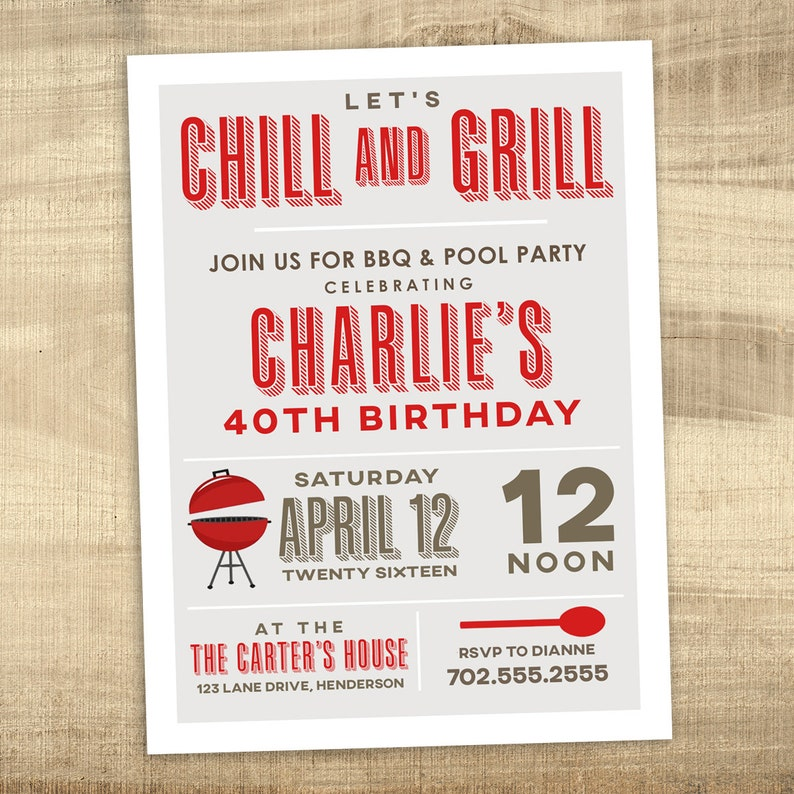 Pool Party BBQ Invitation 40th 30th Birthday Grill And Chill Summer