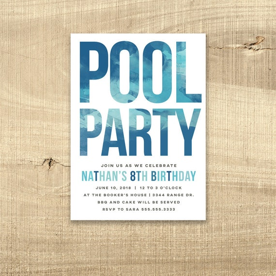 Pool Party Invitation Birthday Invite Water Boy