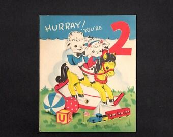 Vintage Mechanical Greeting Card - Rocking Horse