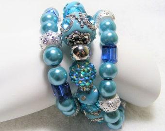 Teal 3pc Stretch Bracelet Set