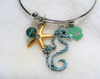 Seahors Shell Starfish Charm Bracelet Adjustable