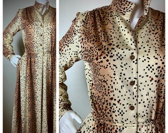 vintage 1970's 1980's LEOPARD print dress long sleeve lightweight poly MIDI secretary nehru collar POCKETS M L anjac needleman larger size