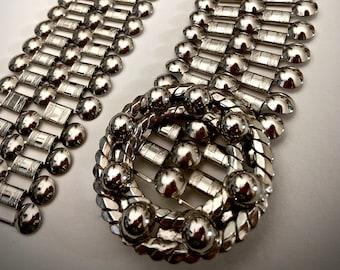 FANTASTIC vintage 1960's silver tone STUDDED chain mail belt statement accessory MOD gothic go-go magic articulated adjustable R A R E