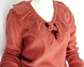 vintage 1970's dusty rose acrylic mohair LIMITED italy sweater v-neck crochet lace S long sleeve gatsby gypsy style