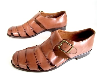 7c1518ae001d vintage 1980s 1990s caramel brown leather CAGE bandage weave sandals BASS  mens 8 womens 9 1 2 BOHO classic festival style bohemian chic