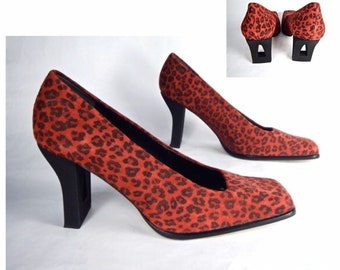 cdaadc67ce1 vintage 1990s cherry RED suede leopard print CUT out heels 3