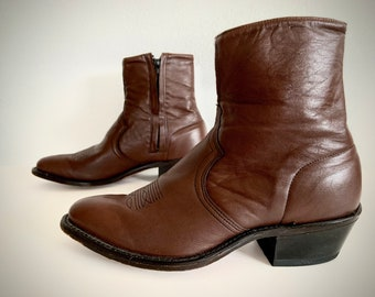 vintage 1970s WHISKEY brown leather ANKLE boots western style boho men's 8 women's 9 1/2 10 USA cuban heel chelsea