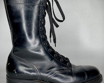 vintage 1970's black leather COMBAT boots men's 8.5 R women's 9.5 10 VULCAN work wear military issue U S A 76