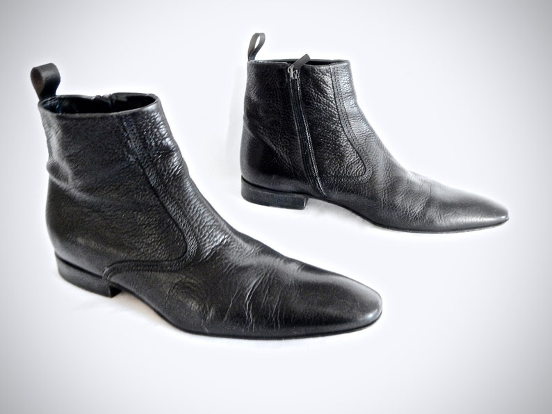 f1859f9e20b vintage 1990s hugo BOSS genuine black leather CHELSEA boots zip up ankle  beatle mens uk 9 1/2 us 10 chelsea mod rock n roll ITALY