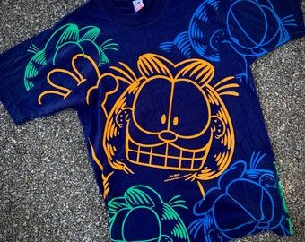 vintage 1990's navy blue GARFIELD all-over-print GRAFFITI t-shirt graphic double sided aop N O S unworn single stitch fruit of the loom M