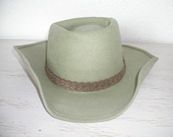 light green eddy hat coburn style with braided suede hatband and feathers -  eddy bros felted wool country cowboy hat - outdoor roadtrip hat f865f5d7e30