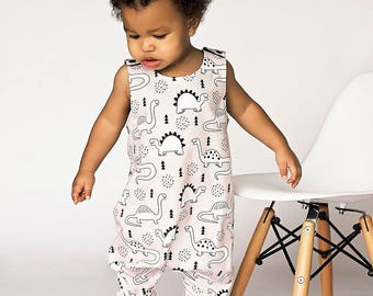 554b04e46ac9 Organic Romper -Newborn Romper - Unisex Clothing - Dinosaur Romper - Baby  Romper - Toddler Romper - Overalls - Infant Romper - Kids Romper