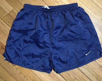 169cc0963c Vintage 90s Team Nike Satin Soccer Shorts - Navy Blue Nylon Athletic  Training Shorts - Made in USA - Men s Size L