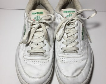 5fda6810e6c4b6 Vintage Reebok Classic Club C 85 Shoes - Solid White Leather Green Spell  Out Logo Retro Dad Shoes - Mens Size 10.5 Wide 2E   EU 44