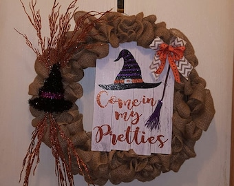Witch hat burlap door hanger  26ca89c8f153