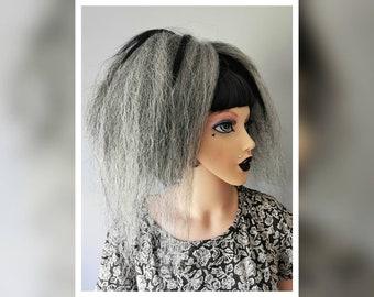 Mini hair falls with blonde, grey and black kanekalon jumbo braid mini grey