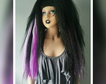 Pair of purple and black gothic hair falls code Phf6