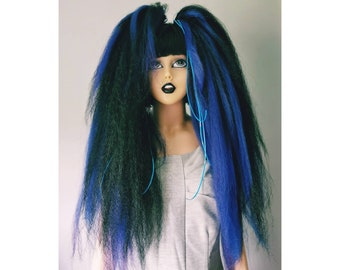 Pair of blue and black gothic hair falls code Bhf6