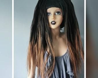 Pair of natural black and brown gothic hair falls BB9