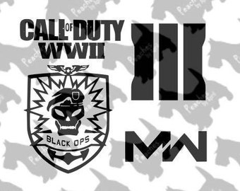 Call of Duty Cricut SVG cut files, set of 4, Call of Duty WWII, Call of Duty Modern Warfare III, Call of Duty Black Ops, video game graphics